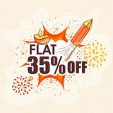 Poster, banner or flyer for Diwali Sale. Creative poster, banner or flyer design of Sale with flat 35% off for Indian Festival of Lights, Happy Diwali royalty free illustration