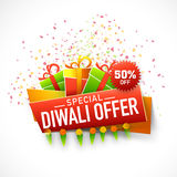 Poster, banner or flyer for Diwali Special Offer. Stylish poster, banner or flyer design with colourful shiny gifts for Special Diwali Offer Stock Image