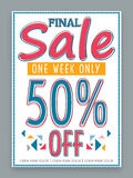 Poster, banner or flyer for Final Sale with 50% discont. Final Sale poster, banner or flyer design for one week only with discount offer Royalty Free Stock Photos