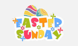 Poster, banner or flyer for Happy Easter celebration. Colorful text Easter Sunday with flower, butterflies and decorated eggs on grey background Royalty Free Stock Photography