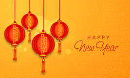 Poster, banner or flyer for Happy New Year celebrations. Happy New Year celebrations with red Chinese lamps hanging on stylish background, can be used as poster vector illustration