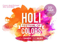 Poster, Banner or Flyer for Holi festival celebration. Stock Image