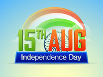 Poster, Banner or Flyer for Indian Independence Day. 3D Text 15th Aug, Independence Day on National Tricolor Stripes and Ashoka Wheel decorated background Stock Photography