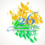 Poster, Banner or Flyer for Indian Republic Day. Stylish text 26 January, Happy Republic Day on abstract saffron and green colours background, can be used as Royalty Free Stock Photography