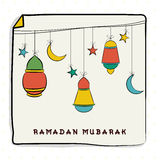 Poster, banner or flyer for Ramadan Mubarak. Stock Photos