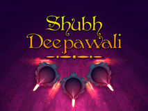 Poster, Banner or Flyer for Shubh Deepawali. Hindi Text Shubh Deepawali (Happy Deepawali or Diwali) with illuminated Oil Lamps (Diya) on rangoli decorated stock illustration