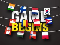 Poster, Banner or Flyer for Sports concept. Stylish Text Game Begins with Countries Flag Buntings including India, Finland, Netherlands, South Korea Royalty Free Stock Images