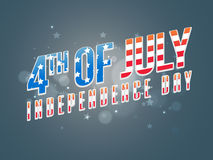 Poster, Banner or Flyer for 4th July celebration. American Flag colors text 4th of July on shiny stars decorated background, Creative Poster, Banner or Flyer Stock Photo