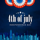 Poster, Banner or Flyer for 4th July celebration. Creative Poster, Banner or Flyer design with city view for 4th of July, American Independence Day celebration Stock Images