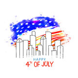 Poster, Banner or Flyer for 4th July celebration. Creative view of city on American Flag color background for 4th of July, Independence Day celebration Stock Images