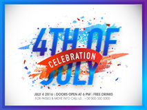 Poster, Banner or Flyer for 4th July celebration. Glossy blue text 4th of July on abstract background, Creative Poster, Banner or Flyer design for American Royalty Free Stock Image