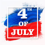 Poster, Banner or Flyer for 4th July celebration. Stylish text 4th of July on American Flag colors paint stroke background, Creative Poster, Banner or Flyer for Royalty Free Stock Photography