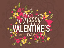 Poster, banner or flyer for Valentines Day celebration. Colorful flowers decorated poster, banner or flyer with text Happy Valentines Day Royalty Free Stock Photo
