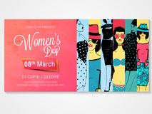 Poster, banner or flyer for Women's Day. Creative poster, banner or flyer design with illustration of young girls for Women's Day Party celebration Royalty Free Stock Images