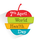 Poster, banner or flyer for World Health Day. Stylish text 7th April World Health Day on colorful apple shape, can be used as poster, banner or flyer Vector Illustration