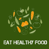 Poster or banner  on green background with trendy linear icons and signs of vegetables Royalty Free Stock Image