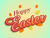 Poster or banner for Happy Easter celebration. Poster, banner or flyer design decorated with stylish text Happy Easter and colorful eggs on shiny background Stock Photo