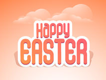 Poster or banner for Happy Easter celebration. Stylish text Happy Easter on glossy cloudy background, can be used as poster, banner or flyer Stock Images