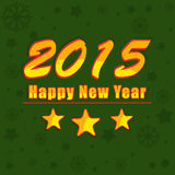 Poster or banner for Happy New Year 2015. Beautiful card for Happy New Year 2015 with stars on stylish green background Royalty Free Stock Photos