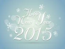 Poster or banner for Happy New Year 2015. Happy New Year 2015, flyer poster or banner with stylish white text and snowflakes on blue background Royalty Free Stock Image
