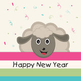 Poster or banner for Happy New Year. Kiddish poster for Happy New Year with smiling sheep on stylish background Stock Photos