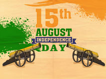 Poster or banner for Indian Independence Day. National flag color text 15th August with shiny cannon on saffron and green color splash background for Indian Royalty Free Illustration