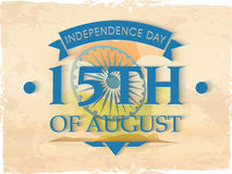 Poster or banner for Indian Independence Day. Vintage poster, banner or flyer design with stylish text 15th of August on national flag, grungy background for Vector Illustration