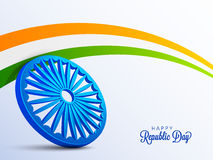 Poster, Banner for Indian Republic Day celebration. 3D Ashoka Wheel with National Tricolor Stripe. Happy Indian Republic Day celebration Poster, Banner or Flyer Stock Photo