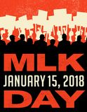 Poster or banner for Martin Luther King Day. Protest rally. Poster or banner for Martin Luther King Day. Abstract illustration of many people carrying signs at Stock Photos