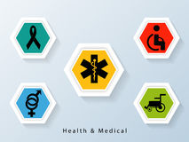 Poster and banner with medical signs and symbols. Stock Image