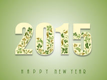 Poster or banner for New Year 2015. Floral design decorated text of 2015 for Happy New Year celebration on shiny green background Stock Images