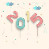 Poster or banner for New Year 2015. Happy New Year 2015 celebration poster, banner or flyer on stylish beige background Royalty Free Stock Photos