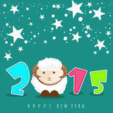 Poster or banner for New Year 2015. Kiddish poster for Happy New Year 2015 celebration with sheep and stars on green background Royalty Free Stock Images