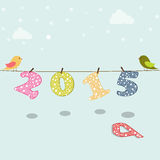 Poster or banner for New Year 2015. Stylish poster for Happy New Year 2015 with cute birds on sky blue background Stock Images