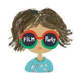 Poster or banner for the party with funny girl. Graphic illustration Stock Image