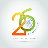 Poster, Banner for Republic Day celebration. Creative Indian Flag Colors Text 26 January with Ashoka Wheel. Happy Republic Day celebration Poster, Banner or Royalty Free Stock Photography