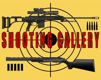 Poster, banner shooting range, a sniper rifle and a rifle target on a yellow background royalty free illustration
