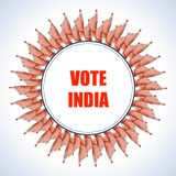Poster banner show hand of Indian people for election and vote polling campaign of India. Easy to edit vector illustration of poster banner show hand of Indian stock illustration