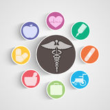 Poster, banner and sticker with medical equipments and symbol. Illustration of medical equipments with symbol in center Stock Photography