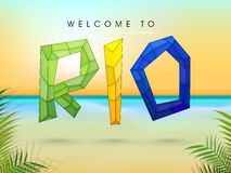 Poster, Banner with Stylish Polygonal Text Rio. stock illustration