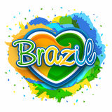 Poster, Banner with Stylish Text Brazil. Brazilian Flag Colors Text Brazil on creative heart decorated abstract colorful background, Can be used as Poster Royalty Free Stock Photo