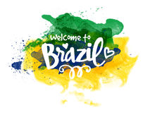 Poster or Banner with Stylish Text for Brazil. Stylish Text Welcome to Brazil on Brazilian Flag colors abstract watercolor background, Can be used as Poster Royalty Free Stock Image