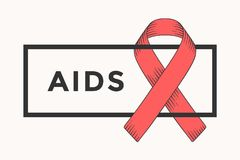 Poster and banner with text AIDS and red ribbon. World aids day symbol. Banner for 1st December, World Aids Day concept of aids awareness. Classic graphic Stock Illustration