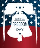 Poster or banners –  on  National Freedom Day! - February 1st. USA flag as background and Liberty Bell silhouette Stock Image
