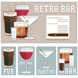 Poster of bar with glasses of different drinks Royalty Free Stock Images