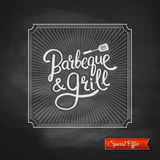 Poster of Barbecue and Grill on Black Chalkboard Stock Image