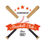 Poster baseball crossed bats and ball stars Royalty Free Stock Photos