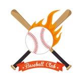 Poster baseball crossed bats and ball stars Royalty Free Stock Photo