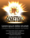 Poster basketball ball in flames and lights against black backgr Royalty Free Stock Photography