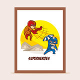 Poster Battle of Superheroes Royalty Free Stock Images